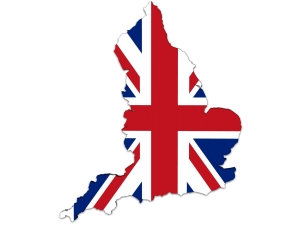 England map and UK Flag